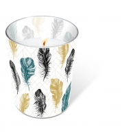 glass candle - Coloured feathers
