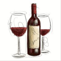 Servietten 24x24 cm - Vino rosso