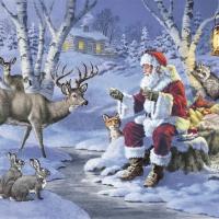 Serviettes 33x33 cm - Santa in Forest