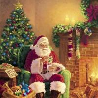 Serviettes 33x33 cm - Santa at Home