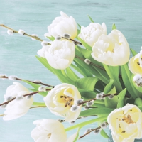 Napkins 33x33 cm - White tulips