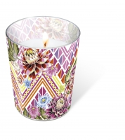 glass candle - Mexican flowers