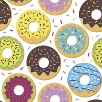 Servietten 33x33 cm - Colorful donuts