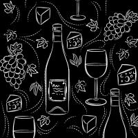 Serwetki 33x33 cm - Wine and cheese