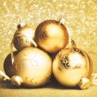 Napkins 33x33 cm - Golden baubles