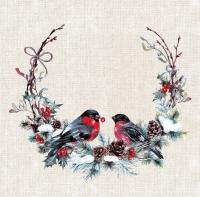 Napkins 40x40 cm - Birds in wreath