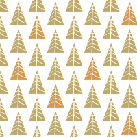 Serviettes 33x33 cm - Pointed trees gold