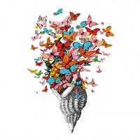 Servietten 25x25 cm - Seashell with Butterflies 25x25 cm