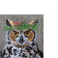 Servilletas 25x25 cm - Winter Berry Owl Napkin 25x25
