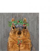 Servilletas 25x25 cm - Winter Berry Squirrel Napkin 25x25