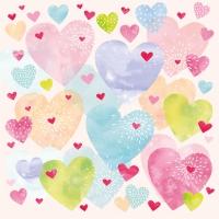 Napkins 33x33 cm - Konfetti Hearts 33x33 cm