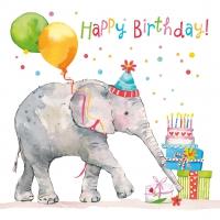 Serviettes 33x33 cm - Birthday Elephant 33x33 cm