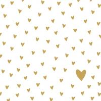 Servilletas 33x33 cm - Little Hearts gold Napkin 33x33