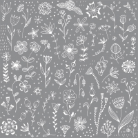 Servilletas 33x33 cm - Pure Flower grey Napkin 33x33