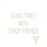 Napkins 33x33 cm - Crazy Friends gold Napkin 33x33