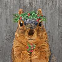 Servietten 33x33 cm - Winter Berry Squirrel Napkin 33x33