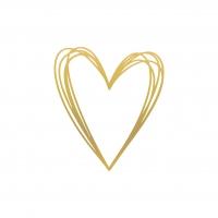 Napkins 33x33 cm - Pure Heart gold Napkin 33x33