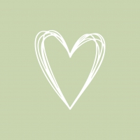 Napkins 33x33 cm - Pure Heart green Napkin 33x33