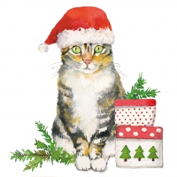 Servietten 25x25 cm - Christmas Kitty Napkin 25x25