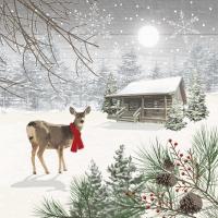 Servilletas 25x25 cm - Wintry Deer Napkin 25x25