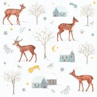 Napkins 33x33 cm - X-mas Deer Village 33x33 cm