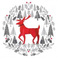 Serviettes 33x33 cm - Silver Deer Napkin 33x33