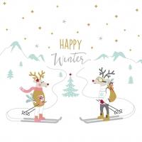 Serviettes 33x33 cm - Skiing Deers Napkin 33x33