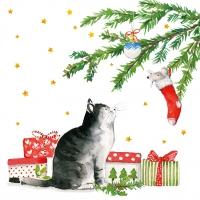 Napkins 33x33 cm - Christmas Cat Napkin 33x33