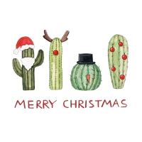 Servietten 33x33 cm - Christmas Cactus Napkin 33x33