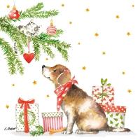 Servietten 33x33 cm - Christmas Dog Napkin 33x33
