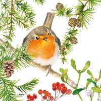 Napkins 33x33 cm - Robin in Tree Napkin 33x33