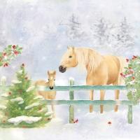 Napkins 33x33 cm - Christmas Horses Napkin 33x33