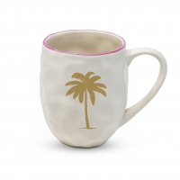 Porcelain cup with handle - Organic Mug Palm Fantasy real gold