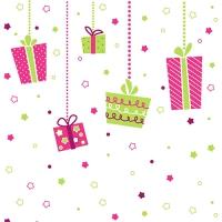 20 Servietten 33x33 cm - X-Mas Flying Gifts pink/grün