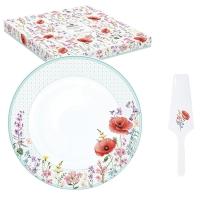 Porcelain cake plate 32cm - Les Coquelicots
