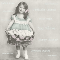 Serviettes 33x33 cm - Easter Girl with Egg Basket