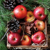 Napkins 33x33 cm - Red Apples in Wooden Box