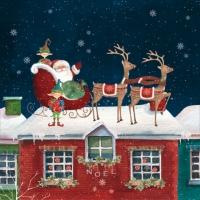 Napkins 33x33 cm - Santa Claus with Goblins