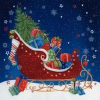 Napkins 33x33 cm - Sleigh at Christmas Eve