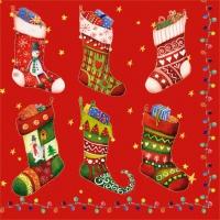 Servietten 33x33 cm - Colorful Christmas Stockings