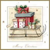 Servietten 33x33 cm - Merry Christmas Sleigh
