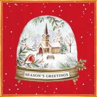 Servietten 33x33 cm - Seasons Greetings in a Snow Globe
