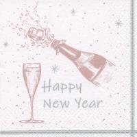 Napkins 33x33 cm - Happy New Year shiny rosé