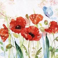 Serviettes 33x33 cm - Poppys & Butterfly