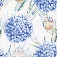 Serviettes 33x33 cm - Hydrangea Balloons blue