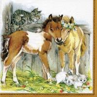 Serviettes 33x33 cm - Kitten & Foals in Stable