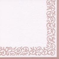Napkins 33x33 cm - Romantik Border shiny rosé