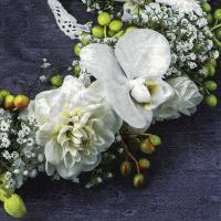 Napkins 33x33 cm - Corona de Flores Blancas