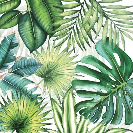 Napkins 25x25 cm - Tropical Leaves White