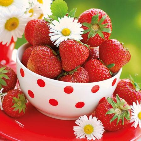 Napkins 25x25 cm - Strawberries In Bowl